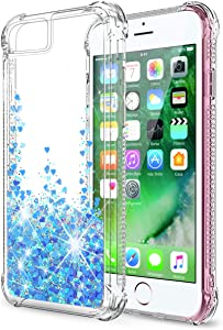 SunRemex iPhone SE Case (2020),iPhone 8 Case,iPhone 7 Case,iPhone 6S Case,iPhone 6 Case,iPhone SE 2nd Generation Case,Glitter Shining Quicksand Clear TPU with Anti-Fall Angle Reinforcement (Blue)