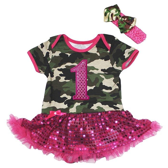 363cfd7307a ... Ls Bodysuit Pink Tutu Romper Set Nb-  factory outlets 61f59 cd015 Amazon .com Baby Dress 1st Camouflage Bodysuit Hot Pink Sequin Girl ...