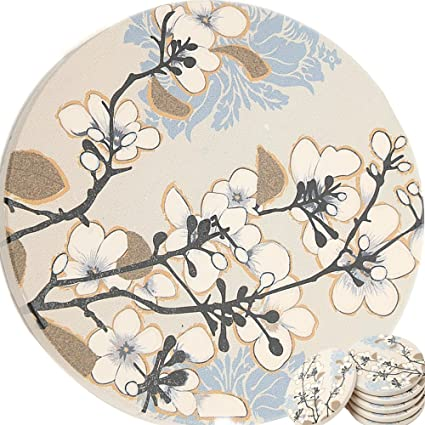 Enkore Ceramic Coasters Dogwood Branch Design - 6 Pack of Absorbent Stone For Drinks  sc 1 st  Amazon.com & Amazon.com | Enkore Ceramic Coasters Dogwood Branch Design - 6 Pack ...