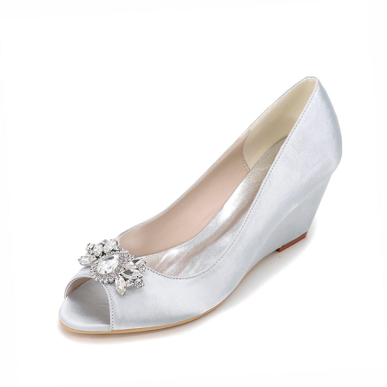 Qingchunhuangtang@ Elegante Schuhe Wedge Satin Wedge Schuhe wasserdicht Plattform Fisch Mund Schuhe High-Grade Strass Deko Bankett Hochzeit jährlichen Schuhe 5a3957