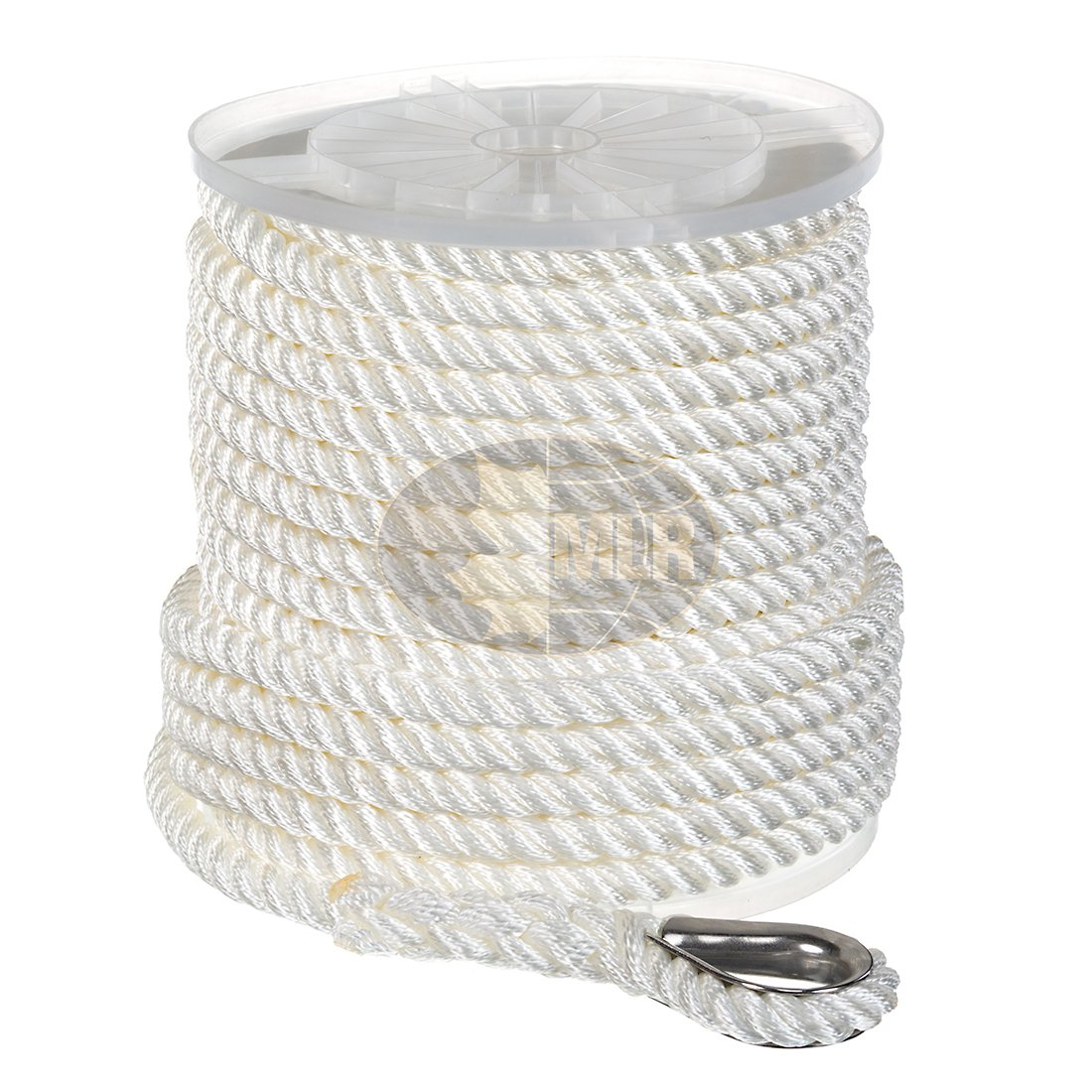 Nylon 3 Strand Anchor/Rigging Line 1/2'' x 50' White by Maple Leaf Ropes