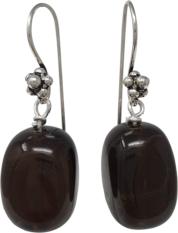 TreasureBay Pendientes hechos a mano con piedras preciosas de cuarzo natural para mujer, hechos con plata de ley