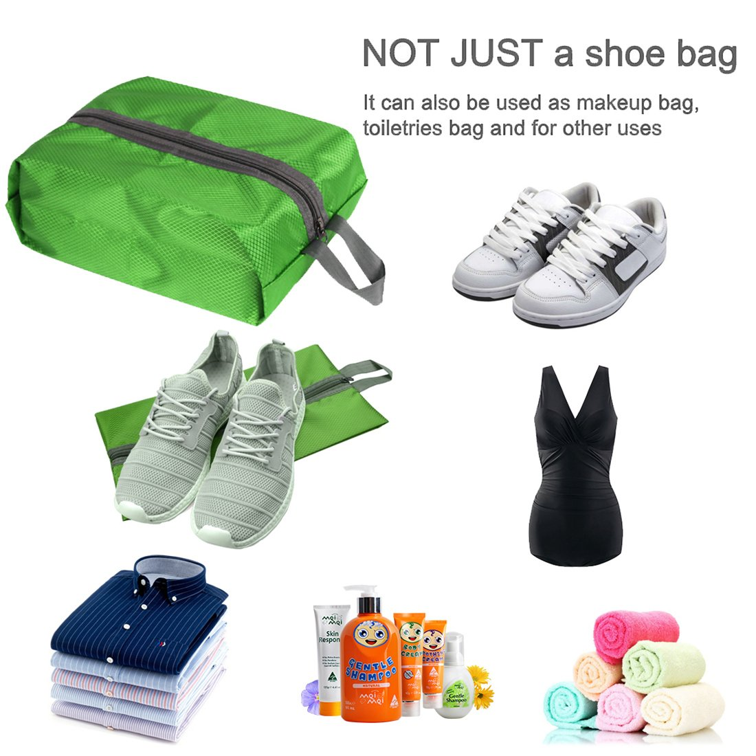 Neobang Portable Nylon Travel Shoe Bags Set of 4 with Zipper Closure for Men Women