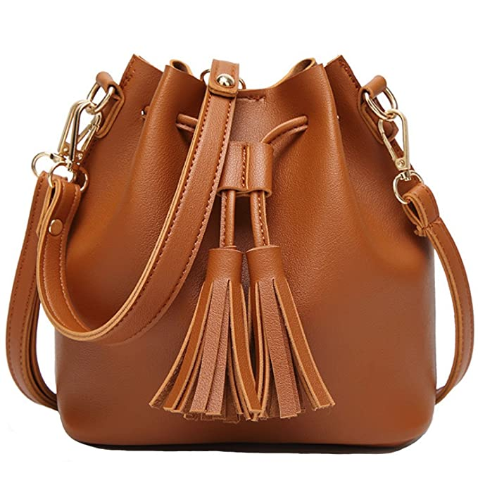 Amazon.com  FiveloveTwo Womens Ladies Handbags and Purses PU Leather Tassel  Small Top-handle Satchel Hobo Crossbody Totes Shoulder Bags Brown  Clothing 8567cb502c37c