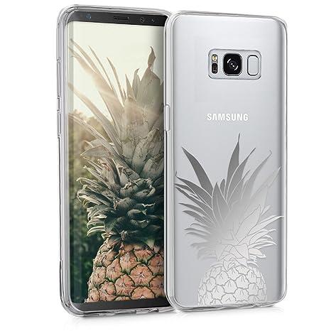 kwmobile Funda para Samsung Galaxy S8 - Carcasa Protectora de [TPU] con diseño Mata de piña en [Plata/Transparente]