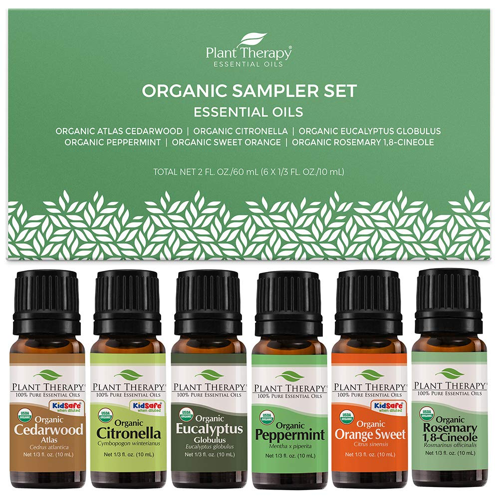 Plant Therapy Organic Essential Oil Sampler Gift Set Includes USDA Certified Organic: Eucalyptus, Peppermint, Rosemary, Cedarwood, Sweet Orange and Citronella 10 mL (1/3 Ounce) Each