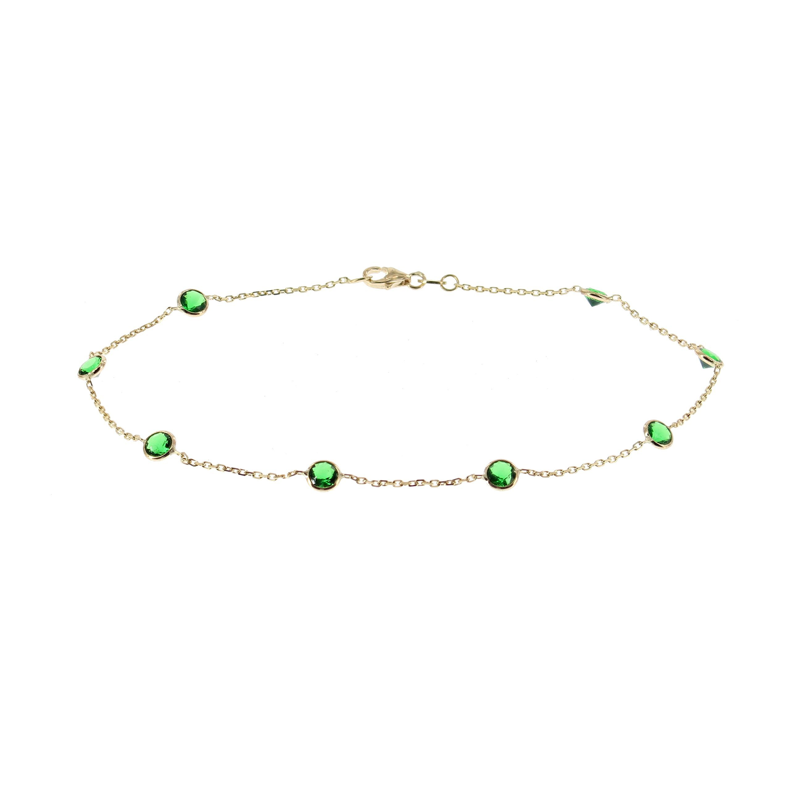 14k Yellow Gold Ankle Bracelet With Green Cubic Zirconia (9 - 11 inches)