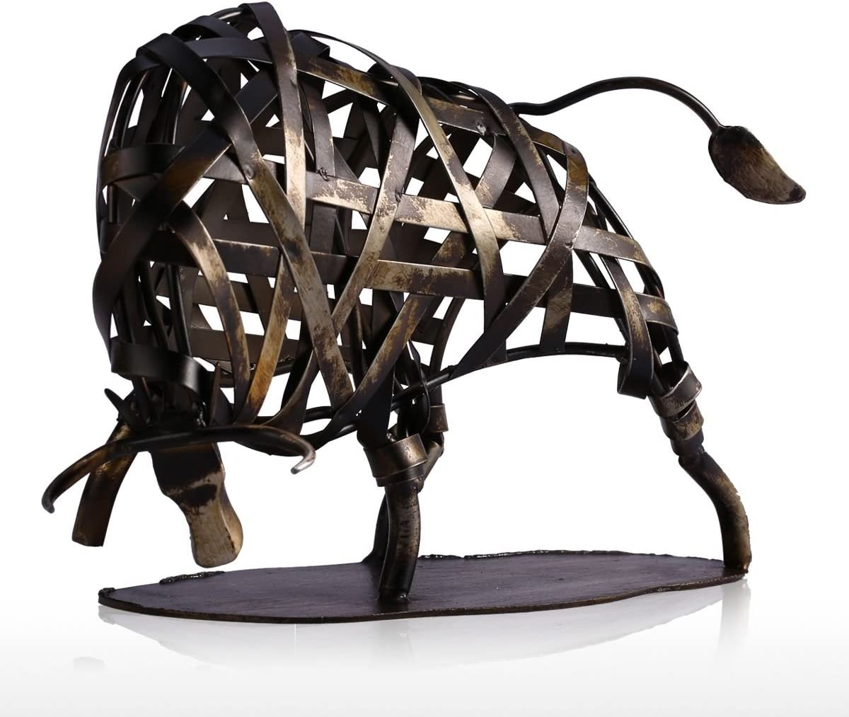 Tooarts Metal Modern Sculpture Iron Braided Cattle Home Handmade Statue Crafts