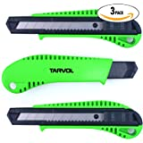 Box Cutter Utility Knife (3 PACK) - Premium Grade Strength - Retractable Snap Off Blades - Perfect Hobby Knife for Cutting Cardboard, Boxes, and More!
