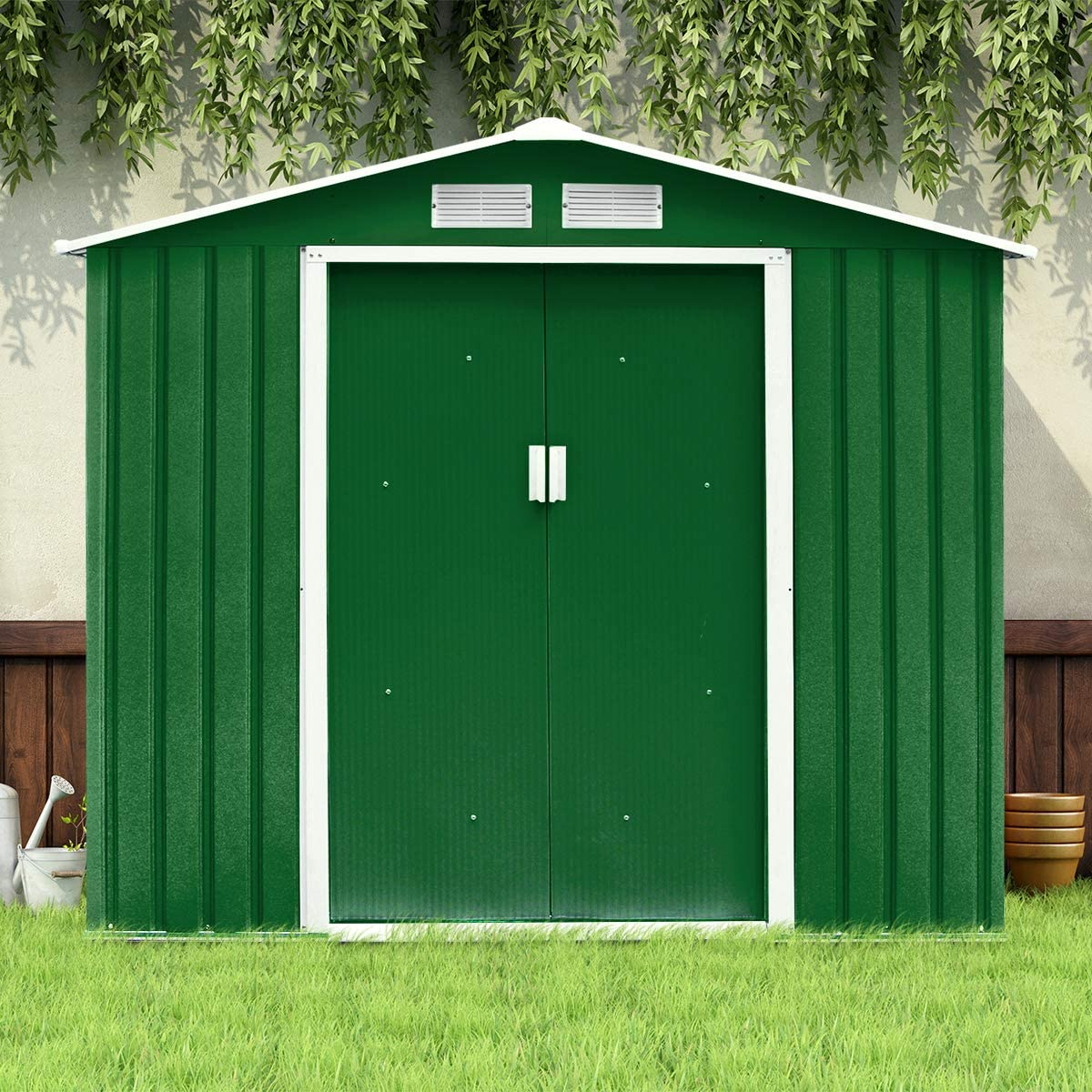 Costway - Caseta de jardín de metal para herramientas de chapa galvanizada, con puerta corredera y dos ventanas de ventilación, 213 x 127 x 185 cm, verde: Amazon.es: Jardín