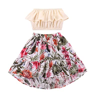 040901a44f Infant Girl Clothes 2Pcs Summer Baby Outfits for Girls Yellow Ruffle Off  Shoulder Elastic Tube Top