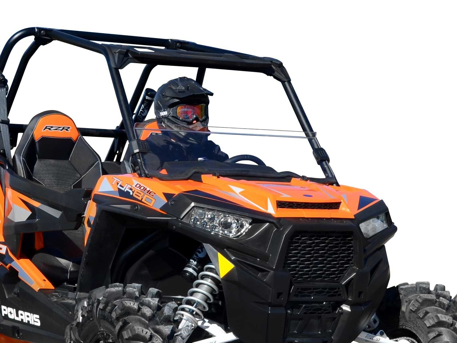 SuperATV Heavy Duty Clear Standard Half Windshield for Polaris RZR 900/900 S/1000/1000 S/Turbo XP/4 1000 - Installs in 5 Minutes!
