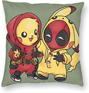 Gukais Personalized Original Pikachu Pet Monster and Deadpool Pikapool Throw Pillow Cover Decorative Pillowcase Creative Home Decor Pillowcases 18x18 Inches