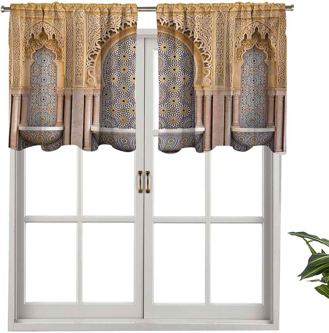 Hiiiman Cenefa moderna para ventana con diseño de fuente marroquí en la ciudad de Rabat, juego de 2, 106,7 x 60,9 cm, paneles opacos decorativos para el hogar para sala de estar