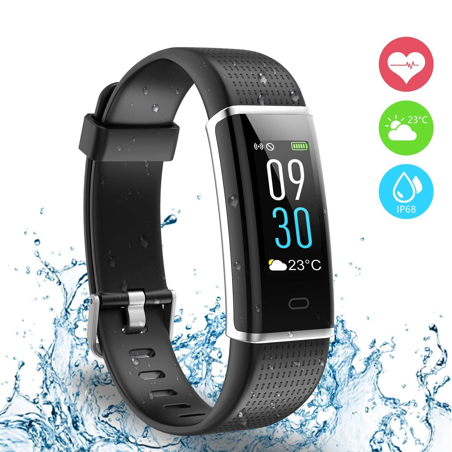 Ausun Fitness Tracker IP68, 130 Plus Color Touchscreen Activity Tracker Smart Wristband con Donna per iOS e Android, Nero product image