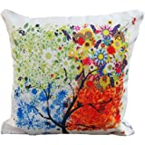 "DECORLUTION 18 ""X18 "" Decorative Cotton Linen Square Throw Pillow Case Cushion Cover Throw Pillow Shell Pillowcase for Sofa - Colorful Tree"