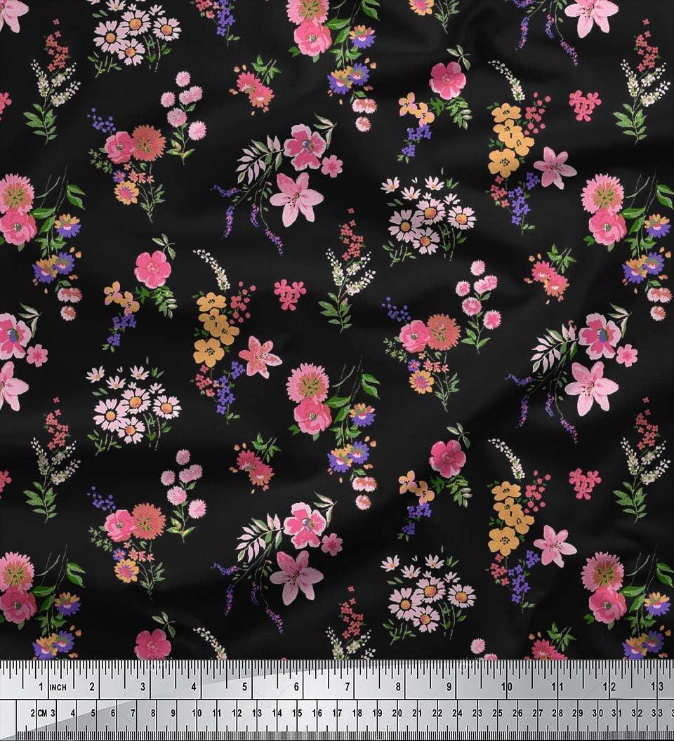 Soimoi Multicolour 20 GSM 66 Inches Wide Skull /& Floral Pure Silk Fabric 1 Mtr