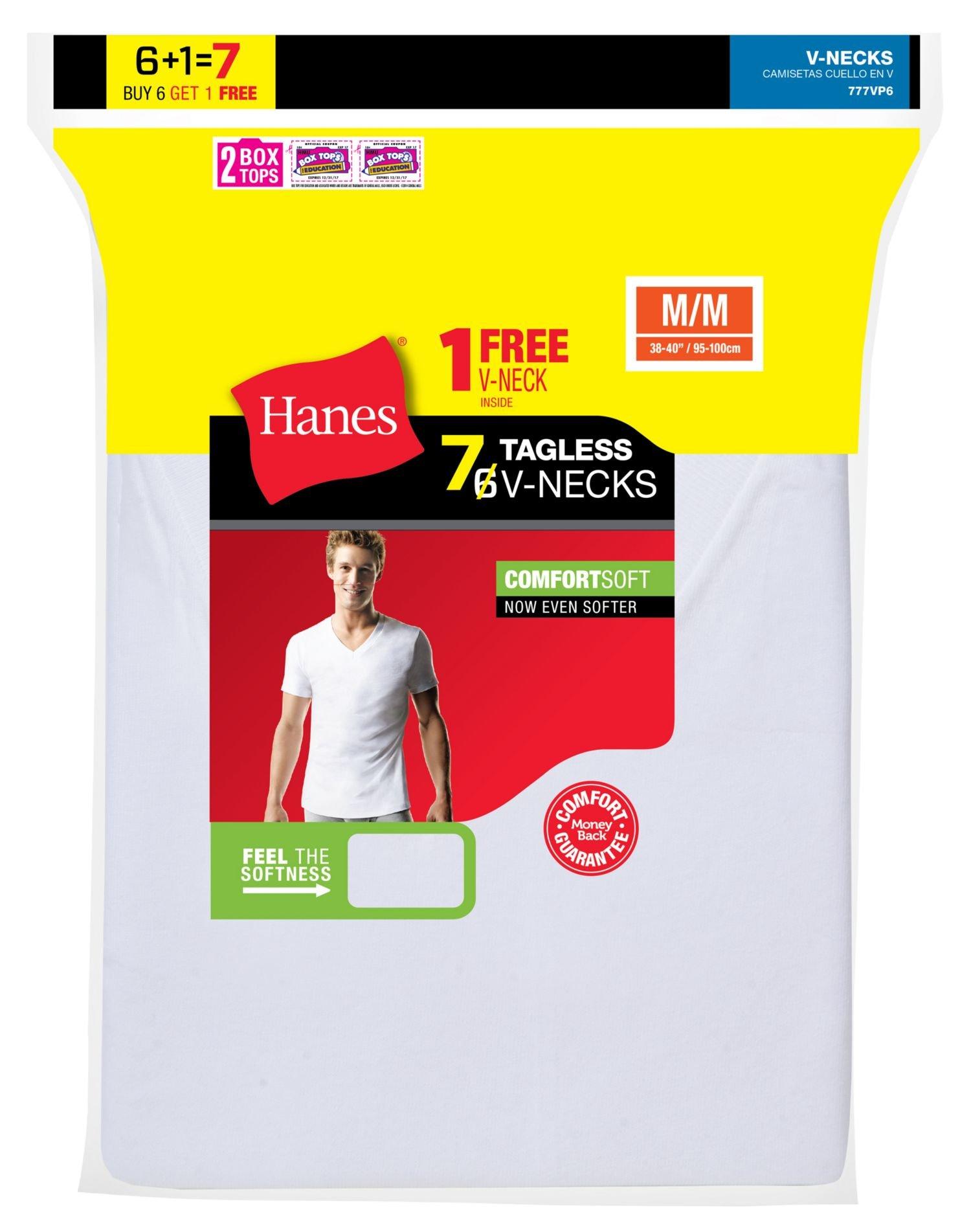 Hanes Men's 7-Pack ComfortSoft Tagless V-Neck T-Shirt (Bonus Pack), White, Meduim