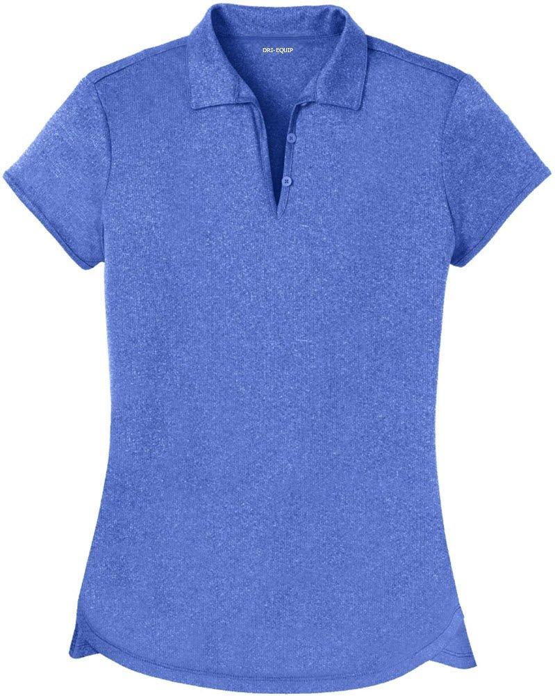 DRI-Equip Ladies Heathered Moisture Wicking Golf Polo-Royal-S by Joe's USA