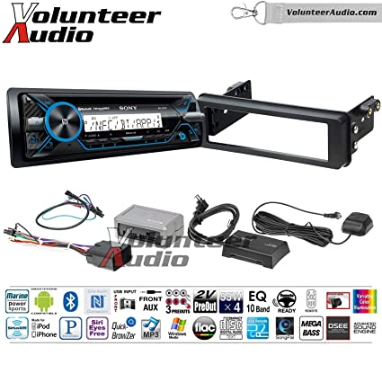 Volunteer Audio Sony MEX-M71BT Single Din Marine Radio Install Kit with Bluetooth, CD