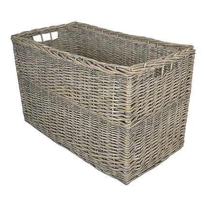 Cesta de mimbre para almacenamiento rectangular, grande y gris, caja para juguetes o cesta