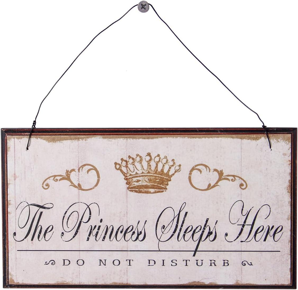 NIKKY HOME Vintage Targa Decorazione in Legno Murale Per Casa Negozio 21x11cm Slogan The princess sleep here Do not disturb
