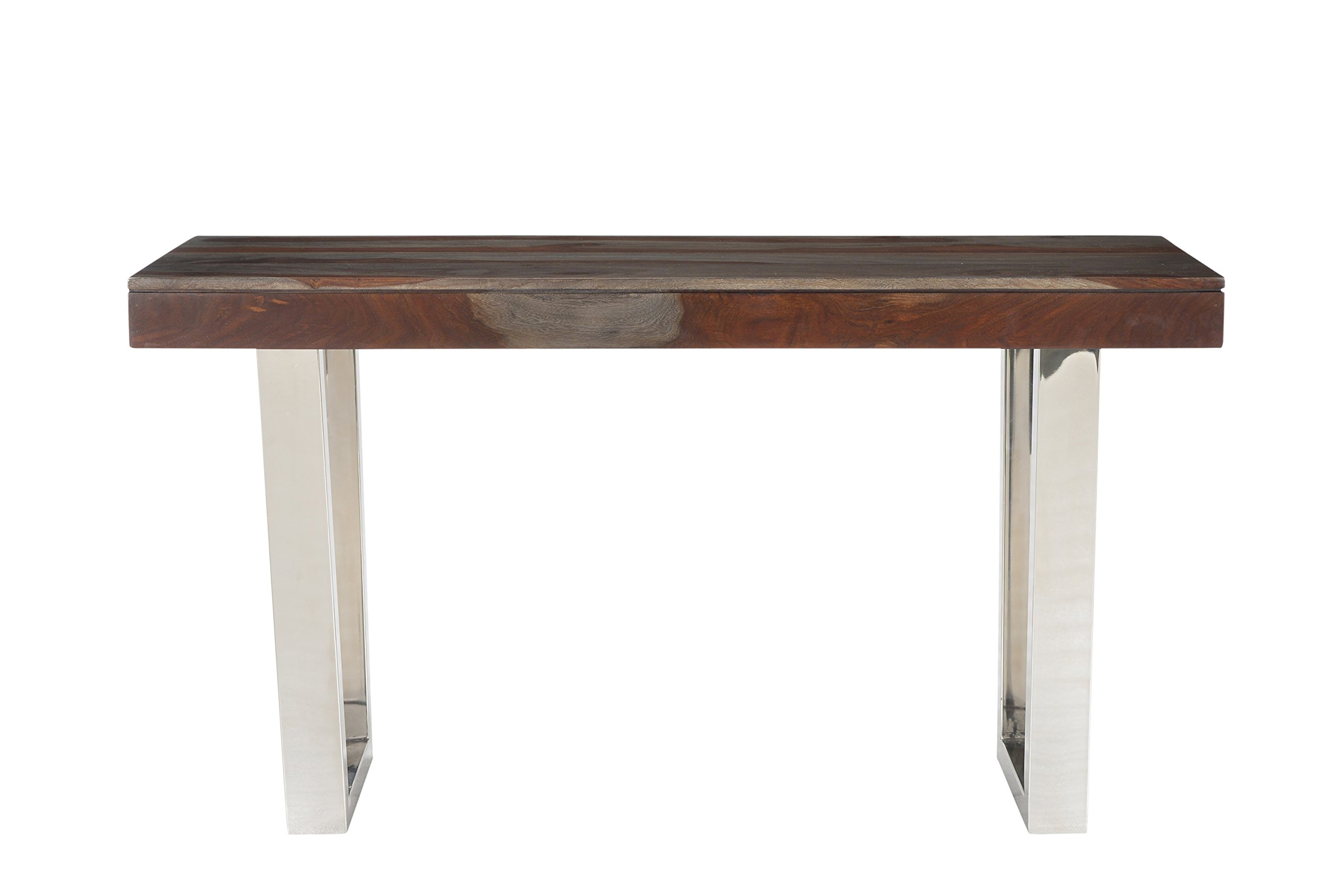 Treasure Trove Stainless Steel Base Grayson Console Table, Grey and Red