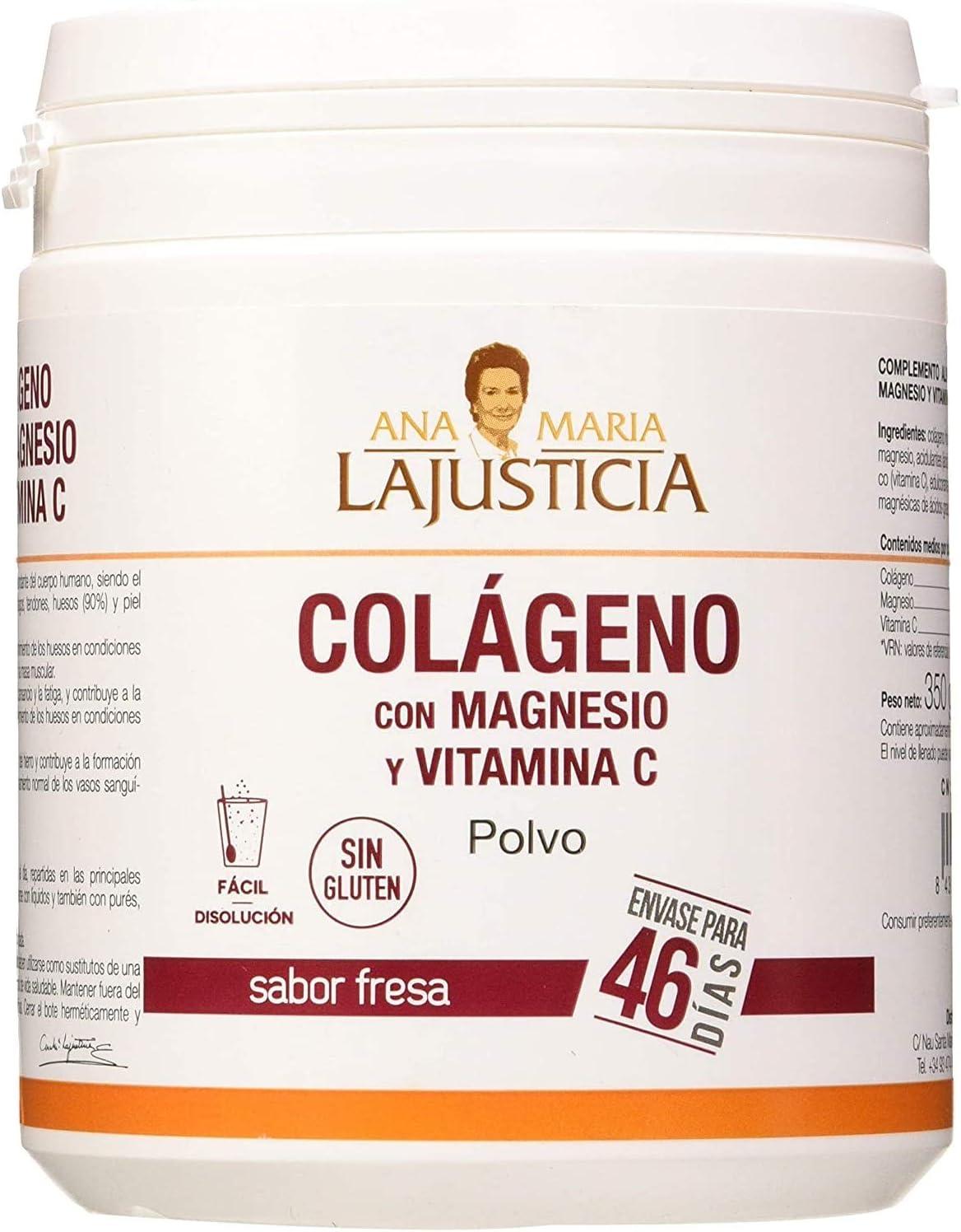 Ana Maria Lajusticia - Colágeno con magnesio y vit c – 350 gramos (sabor fresa) articulaciones fuertes y piel tersa. Regenerador de tejidos con colágeno hidrolizado tipo 1 y 2. Envase para 46 días.