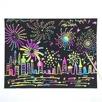 3 Pi/èces Rainbow Scratch Art papier,Papier /à gratter pour les enfants,Scratch Paper Note avec Crayon en bois,Mini cahier de cr/éation,Cartes /à gratter,Perfect cadeau pour les filles ou les gar/çons