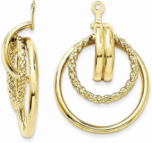 Real 14kt Yellow Gold Polished Round Fancy Earring Jackets