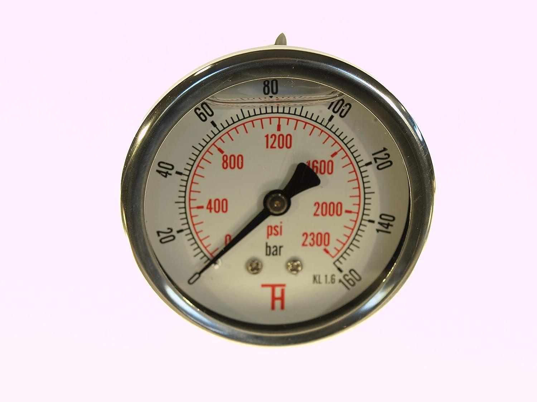 THERMIS Manom/ètre 358G 1//4 connexion /à larri/ère 63 mm 0-6 bar r/ésistant aux chocs