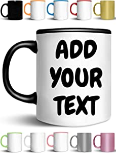 Custom Coffee Mugs - ADD YOUR NAME TEXT LETTERS - Personalized Ceramic Cups - Monogram Novelty Mug