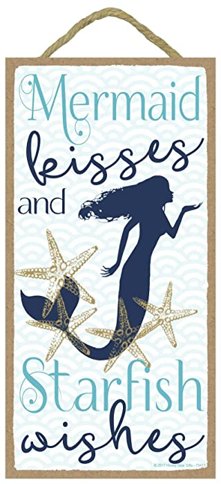 Mermaid Kisses and Starfish Wishes - 5 x 10 inch Hanging, Wall Art, Decorative Wood Sign Home Decor