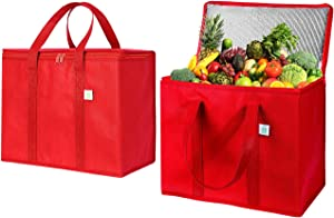2 Pack Insulated Reusable Grocery Bag by VENO, Durable, Heavy Duty, Large Size, Stands Upright, Collapsible, Sturdy Zipper, Made by Recycled Material, Eco-Friendly (RED, 2)