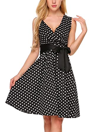 Tinkwell Women s Sleeveless Polka Dot 1950 S Cut Out Sexy Swing Party Dress c6b57d93f