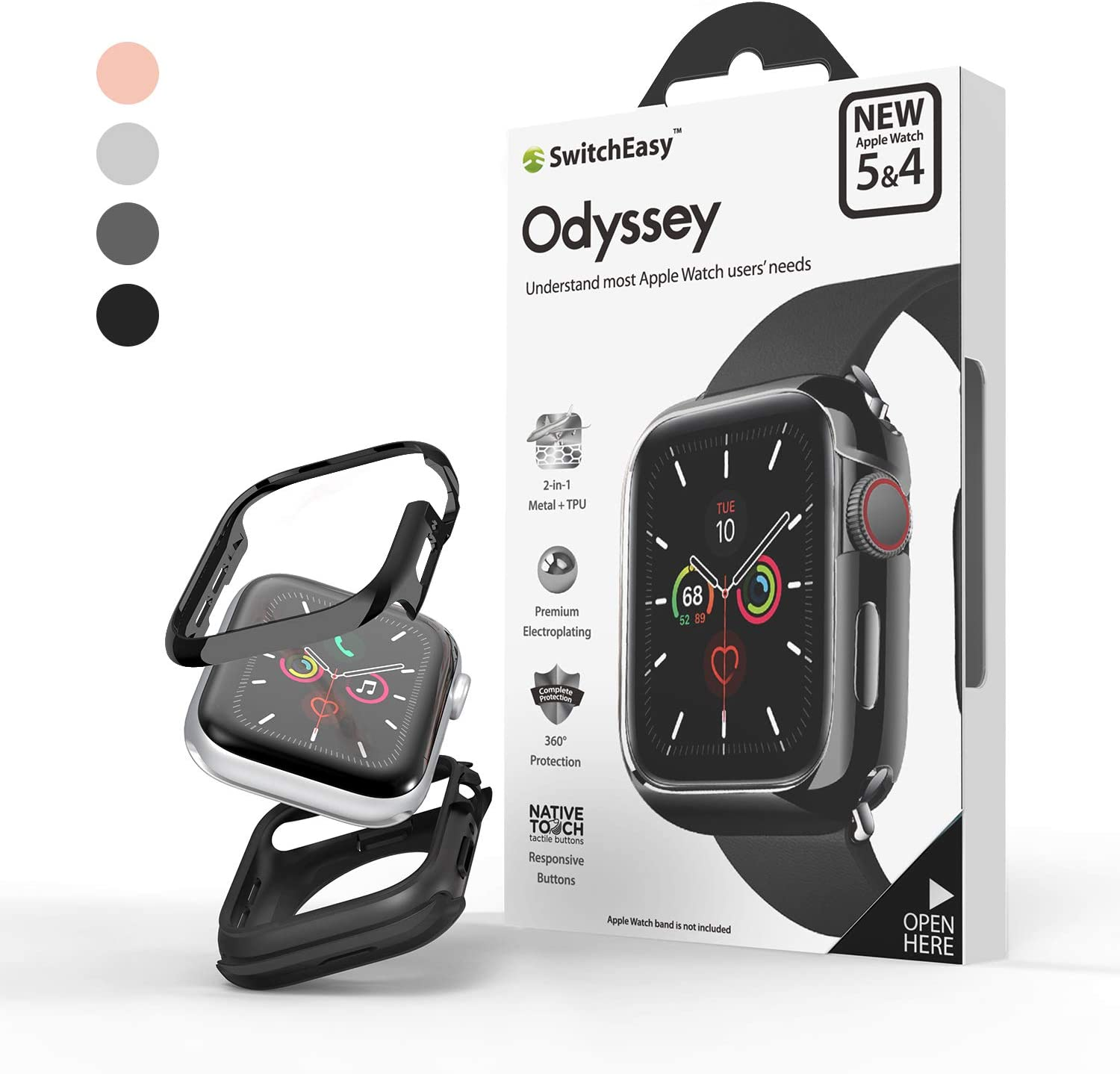 SwitchEasy Odyssey Case For Apple Watch Series 5 / Series 4, Metal + TPU Materials, Anti-Scratch, Shockproof And Flexible Protective Bumper With Exquisite Packaging Box (Flash Gray, 44mm)