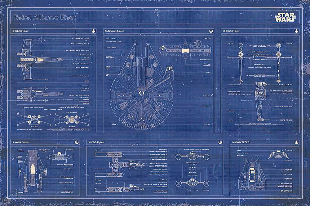 """POSTER STOP ONLINE Star Wars - Movie Poster (Rebel Alliance Fleet Blueprint/Schematics) (Size 36"""" x 24"""")"""