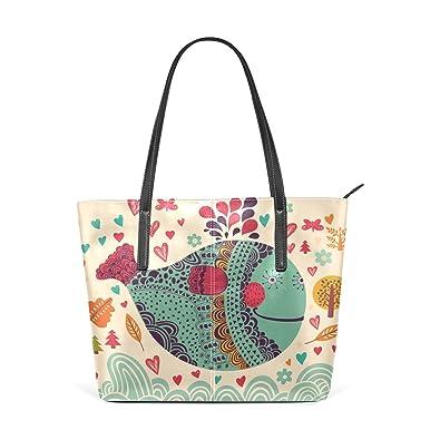 Amazon.com: Para mujer bolsos de piel perro huella bolsos ...