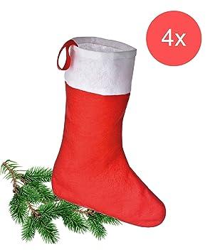 TK Gruppe Timo Klingler 4X calcetín Rojo de Navidad, Botas de Papá Noel, Calcetines