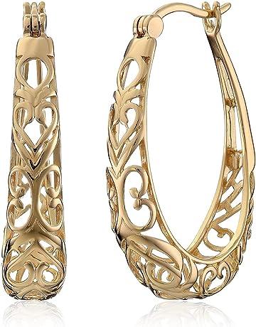 d53fd6a67 Sterling Silver Filigree Hoop Earrings