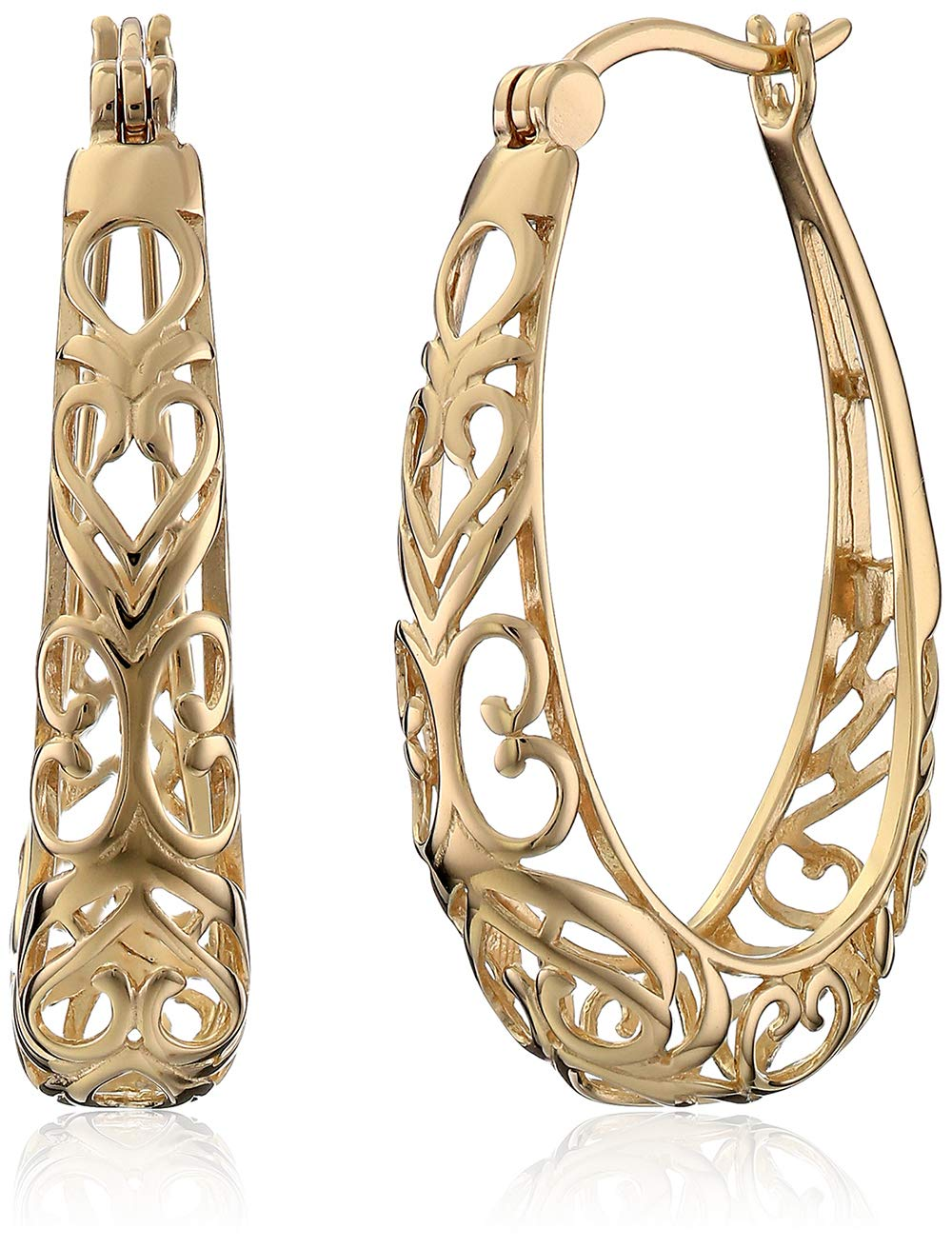 18k Yellow Gold Plated Sterling Silver Filigree Oval Hoop Earrings by Amazon Collection