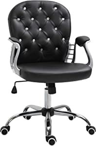 Vinsetto Vanity Middle Back Office Chair Tufted Backrest Swivel Rolling Wheels Task Chair with Height Adjustable Comfortable with Armrests, Black