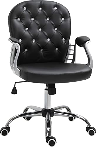 Vinsetto Vanity Middle Back Office Chair Tufted Backrest Swivel Rolling Wheels Task Chair