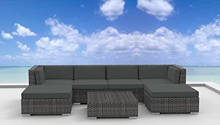 UrbanFurnishing – MAUI 7pc Modern Outdoor Wicker Patio Furniture Modular Sofa Sectional Set, Fully Assembled – Charcoal Gray