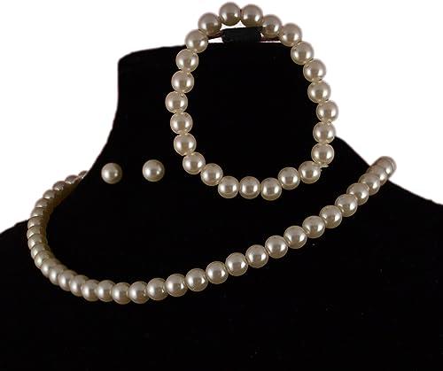Jay joyas - gargantilla crema sintética peral con cubiertos de pulsera y Juego de pendientes de: Amazon.es: Joyería