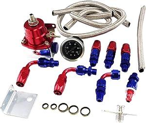 BETTERCLOUD Universal Adjustable EFI Aluminum Fuel Pressure Regulator Kit with 0-100 psi Gauge AN6-6AN Fuel Line Hose Fittings (Red)