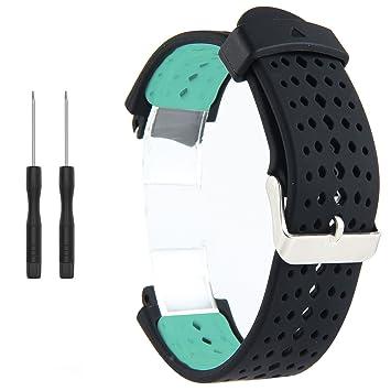 Correa de repuesto para reloj inteligente Garmin Forerunner 220/230/235/620/630/735XT (incluye herramientas de instalación) de Kobwa, Black+Mint Green: ...