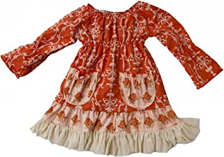 product image for Cheeky Banana Baby Toddler Girls Vintage Peasant Dress Orange Floral/Ivory