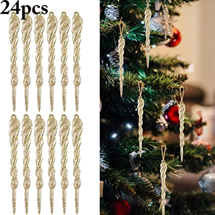 Icicles For Christmas Trees.Coxeer Christmas Icicle Ornaments 24pcs 5 12 Christmas Tree Holiday Hanging Icicle Ornaments Twisted Clear Plastic Icicles Party Wedding Decorations