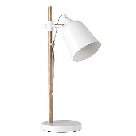 MiniSun - Lámpara de mesa Roscoe de estilo escandinavo - cabezal ajustable y acabado en blanco y haya